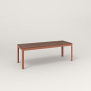 RAD Signature Bench in slatted wood and coral powder coat.
