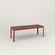 RAD Signature Bench in slatted wood and red powder coat.
