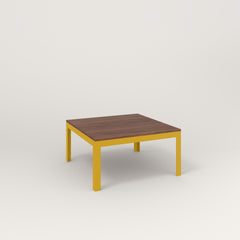 RAD Signature Coffee Table in slatted wood and yellow powder coat.