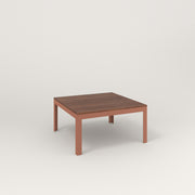 RAD Signature Coffee Table in slatted wood and coral powder coat.