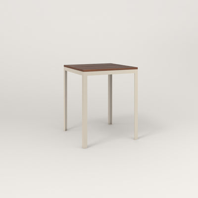 RAD Signature Square Cafe Table, in slatted wood and off-white powder coat.