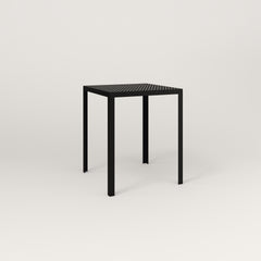 RAD Signature Square Cafe Table, in perforated steel and black powder coat.