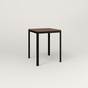 RAD Signature Square Cafe Table, in slatted wood and black powder coat.