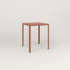 RAD Signature Square Cafe Table, in perforated steel and coral powder coat.