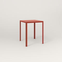 RAD Signature Square Cafe Table, in perforated steel and red powder coat.