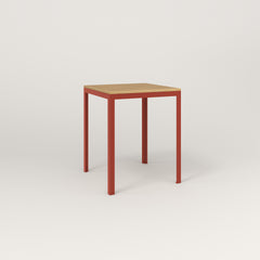 RAD Signature Square Cafe Table, Wood Veneer in red powder coat.