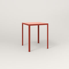 RAD Signature Square Cafe Table, Slatted Steel in red powder coat.