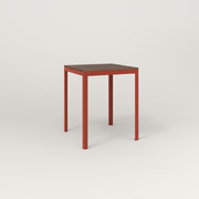 RAD Signature Square Cafe Table, in slatted wood and red powder coat.
