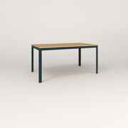 RAD Signature Table in solid white oak and navy powder coat.