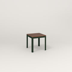 RAD Signature Simple Stool in slatted wood and fir green powder coat.