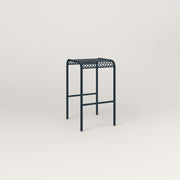 RAD Signature Bent Tube Stool in perforated steel and navy powder coat.