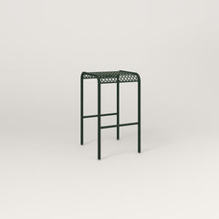 RAD Signature Bent Tube Stool in perforated steel and fir green powder coat.