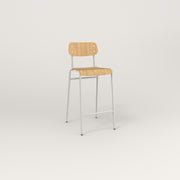 RAD School Bar Stool in bent plywood and white powder coat.