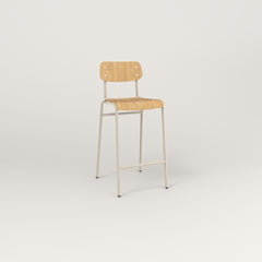 RAD School Bar Stool in bent plywood and off-white powder coat.