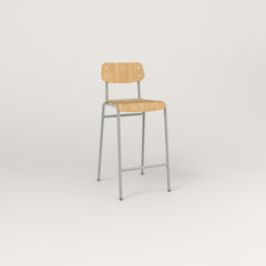 RAD School Bar Stool in bent plywood and grey powder coat.