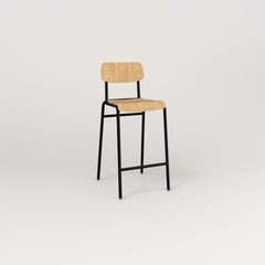 RAD School Bar Stool in bent plywood and black powder coat.