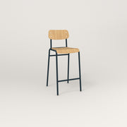 RAD School Bar Stool in bent plywood and navy powder coat.