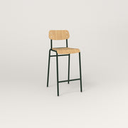 RAD School Bar Stool in bent plywood and fir green powder coat.