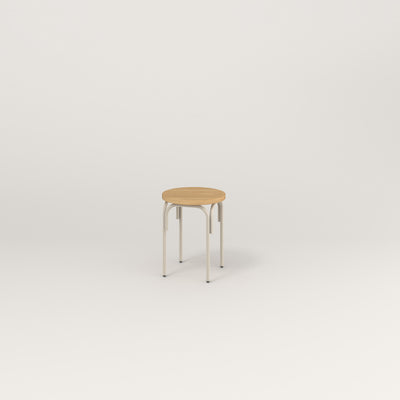 RAD School Simple Stool in white oak europly and off-white powder coat at dining height.