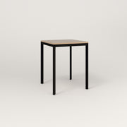 RAD Solid Square Cafe Table, in tricoya and black powder coat.