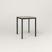 RAD Solid Square Cafe Table, in tricoya and fir green powder coat.