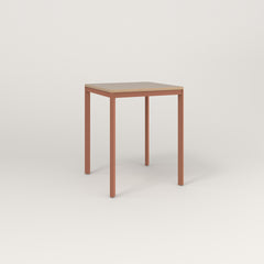 RAD Solid Square Cafe Table, in tricoya and coral powder coat.