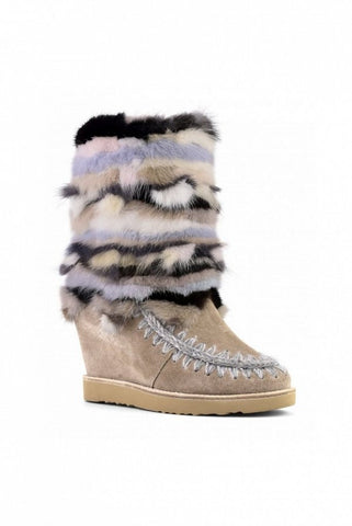 BOTAS MOU FRENCH TOE MINK TRIM DARK STONE