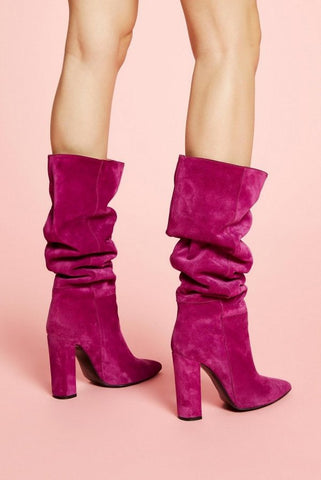 Image of BOTA TACON ALTA PURPURA MODELO TUBE ANIYE BY