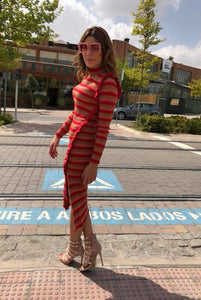 VESTIDO LARGO RAYAS ANIYE BY