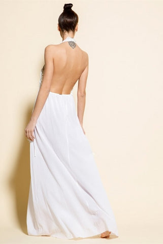 Image of VESTIDO LARGO BLANCO MACRAME