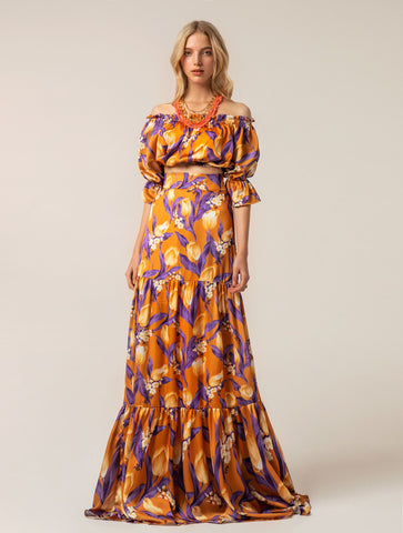 Image of Look Top Falda Flores Naranja y Morado