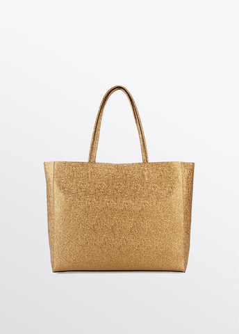 Image of bolso shopper lola casademunt dorado brillante