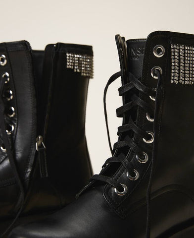 Image of bota militar twinset con flecos strass