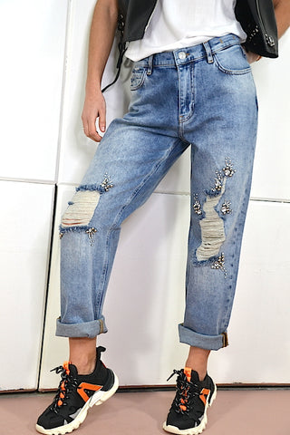 Image of Jeans Baggy My Twinset rotos y strass