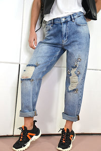 Jeans Baggy My Twinset rotos y strass