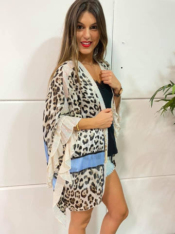 Image of Kaftan Corto Animal Print Boho Chic