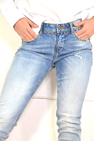 Image of Pantalon Denim Strass Fracomina