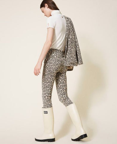 Image of pantalon tejano de algodon twinset estampado animal print
