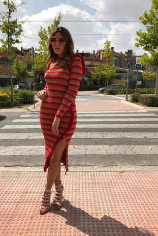 Image of VESTIDO LARGO RAYAS ANIYE BY