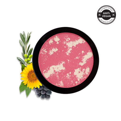 emani cosmetics emani foundation vegan mineral makeup mosaic blush, pink blush, vegan blush, vegan make up, organic make up