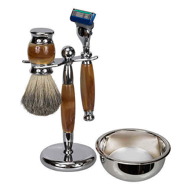Kingsley Shave Set -Tiger Eye and Silver Handles, Soap and Stand SB-671