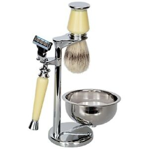 Kingsley Shave Set - Faux Ivory and Silver Handles, Soap and Stand SB-678