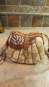 Mary Frances Green & Brown Hand Bag with Flowers Retired Design