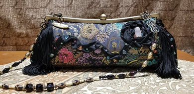 Mary Frances Hand Bag Black Ornate Retired Design