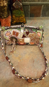 Mary Frances Hand Bag / Purse Green Ornate Retired Design