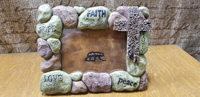 Faith, Hope, and Love Cobblestone Cross Photo Frame 4x6