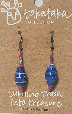Recycled Bead Earrings - The Takataka Collection Blue and Orange - Turning Trash into Treasure