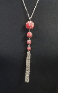 4 Bead Pendent with Tassel Necklace - Choice of Viva Beads Colors - Limited Quantities