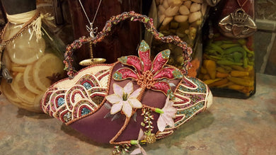 Mary Frances Hand Bag Pink Flowers Retired Design