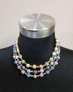 Viva Bead Clay Med Beads, Silver Beaded Necklace (3 Choices of colors)